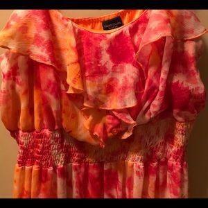 BRIGHT COLOR CREPE MAXIE DRESS